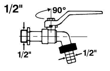 Kugelauslaufventil mit Schlauchverschraubung 1/2 Zoll, Messing vernickelt – Bild 2
