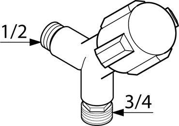 Geräte-Auslaufventil 1/2 Zoll, verchromt – Bild 2