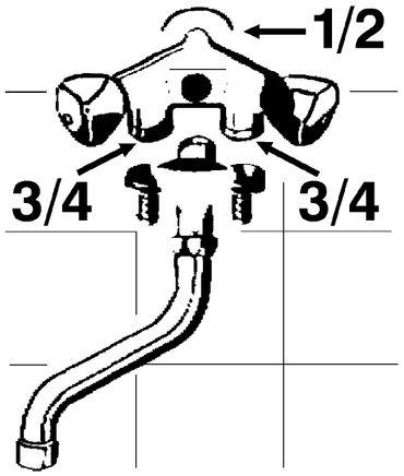 Geräte-Ventilbatterie mit Rückflussverhinderer und Schlauchanschluss 3/4 Zoll, messing verchromt – Bild 2