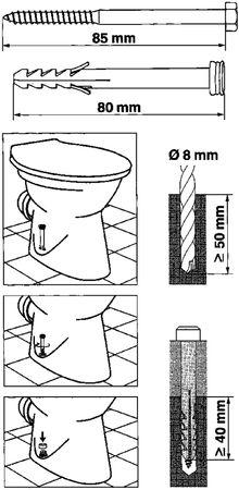 Befestigungssatz Für Stand-WC Set Befestigung Satz WC Boden Weiß Chrom NEU – Bild 2