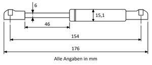 Gasdruckfeder mit Kugelkopfaufnahme - Länge, Ausschubkraft u. Farbe nach Wahl – Bild 2