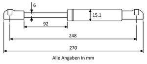 Gasdruckfeder mit Kugelkopfaufnahme - Länge, Ausschubkraft u. Farbe nach Wahl – Bild 4