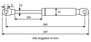 Gasdruckfeder mit Augenaufnahme - Länge u. Ausschubkraft nach Wahl – Bild 7