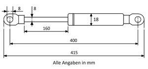 Gasdruckfeder mit Augenaufnahme - Länge u. Ausschubkraft nach Wahl – Bild 13