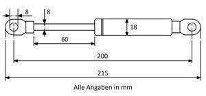 Gasdruckfeder mit Augenaufnahme - Länge u. Ausschubkraft nach Wahl – Bild 3