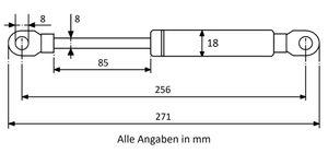 Gasdruckfeder mit Augenaufnahme - Länge u. Ausschubkraft nach Wahl – Bild 5