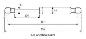 Gasdruckdfeder mit Kugelkopfaufnahme Stahl - Länge u. Ausschubkraft nach Wahl – Bild 7