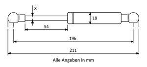 Gasdruckdfeder mit Kugelkopfaufnahme Stahl - Länge u. Ausschubkraft nach Wahl – Bild 2