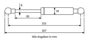 Gasdruckdfeder mit Kugelkopfaufnahme Stahl - Länge u. Ausschubkraft nach Wahl – Bild 5