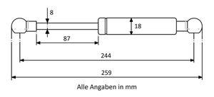 Gasdruckdfeder mit Kugelkopfaufnahme Stahl - Länge u. Ausschubkraft nach Wahl – Bild 6