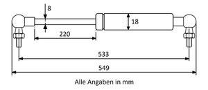 Gasdruckfeder mit Kugelgelenk 90° M6 - Länge u. Ausschubkraft nach Wahl  – Bild 15