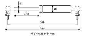 Gasdruckfeder mit Kugelgelenk 90° M6 - Länge u. Ausschubkraft nach Wahl  – Bild 16