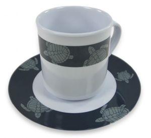 "Gr. Kaffeetasse ""Tortuga"" m. Unterteller"