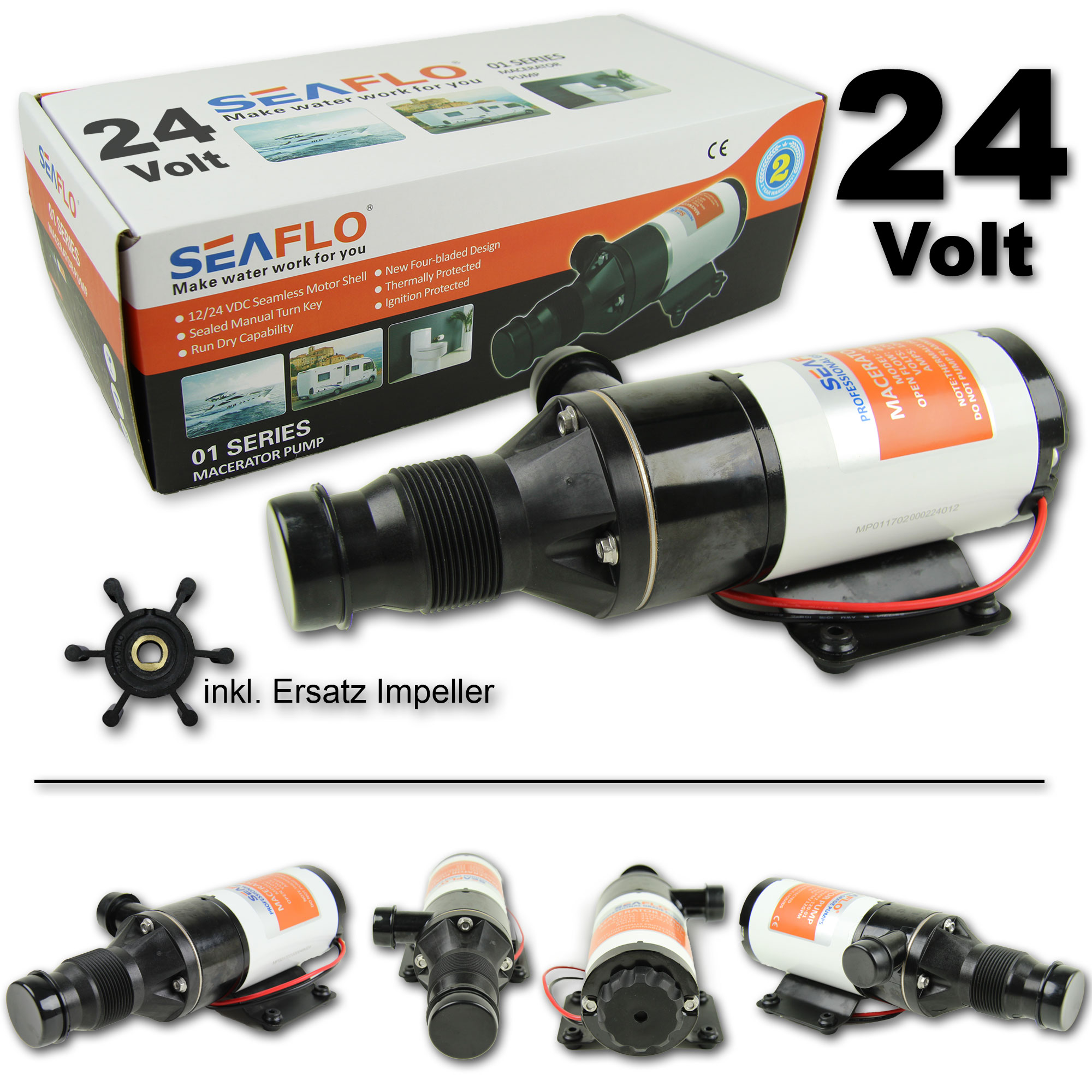 Zerhackerpumpe 24V Macerator Abwasser Pumpe 45 L//min Fäkalienpumpe 6 Impellers