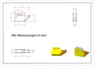 Federschnäpper Mini-Latch Druckverschluß Kunststoff braun – Bild 3