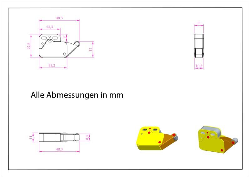 5 x Federschnäpper Mini-Latch Druckverschluß Federschnappverschluß braun 8801