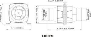 """SEAFLO ® Blower 3"""" Motorraumlüfter 12 V + Blowerschlauch 2 m – Bild 4"""