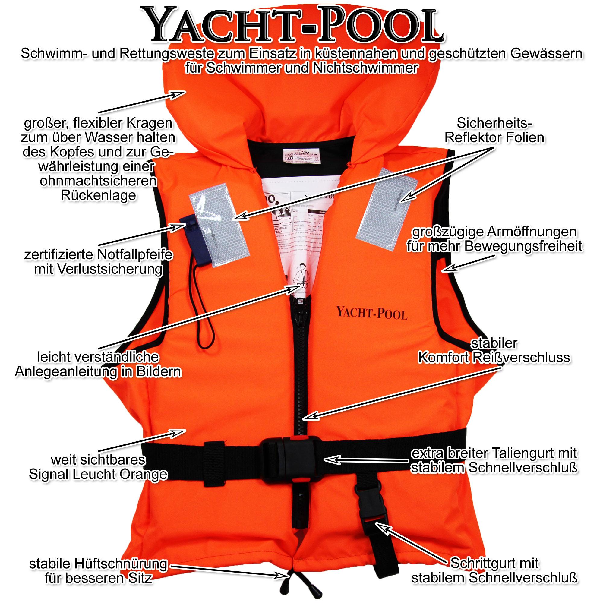 YACHT-POOL 100N Feststoffrettungsweste 30-40 kg Rettungsweste Schwimmweste ISO12