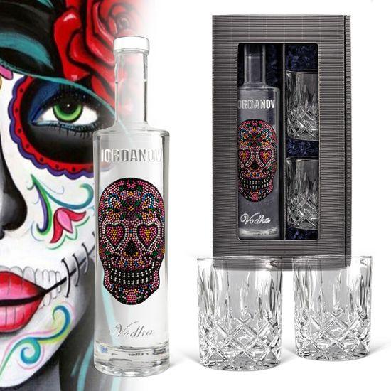 Geschenkset: Vodka Iordanov - Love-Skull (0,7 l) inkl. 2 Tumbler-Gläser im hochwertigen Geschenkkarton für liebende, verliebte, Freund, Freundin, Frau und Mann