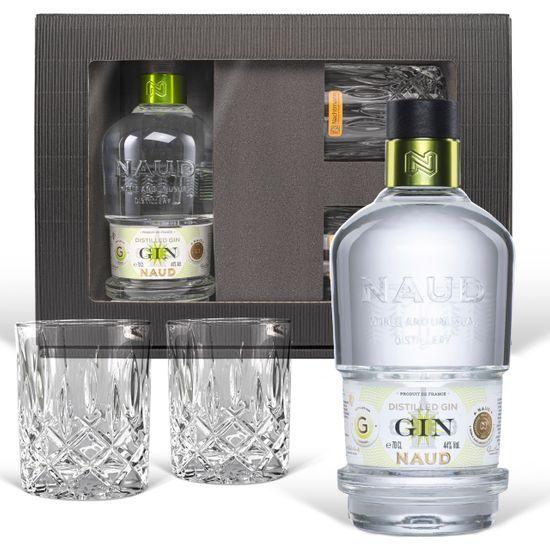 Geschenkset: Naud Dry Gin (0.7 l) - exquisites Geschenkset mit 2 geschliffenen Gläsern