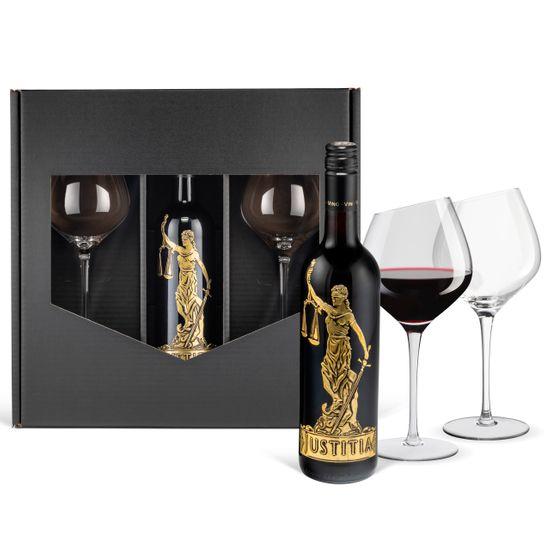 Rotwein Geschenkset: Justitia Cabernet Sauvignon trocken Italien (0,75 l) mit 2 Wertmann-living Rotweingläsern