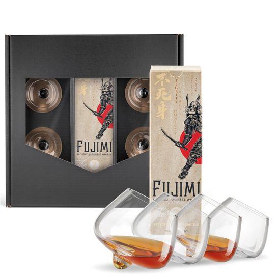 Geschenkset: Fujimi Japanese Whisky (0,7 l) mit 4 Wertmann Cognac-Gläser im Hauskarton schwarz