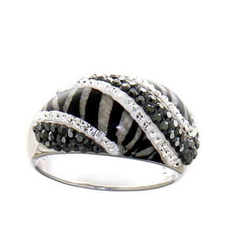 Silber-Ring mit Swarovski, schwarz-silber