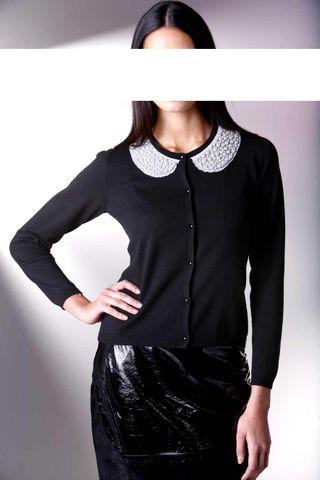 Alba Moda Damen Strickjacke mit Perlen, schwarz