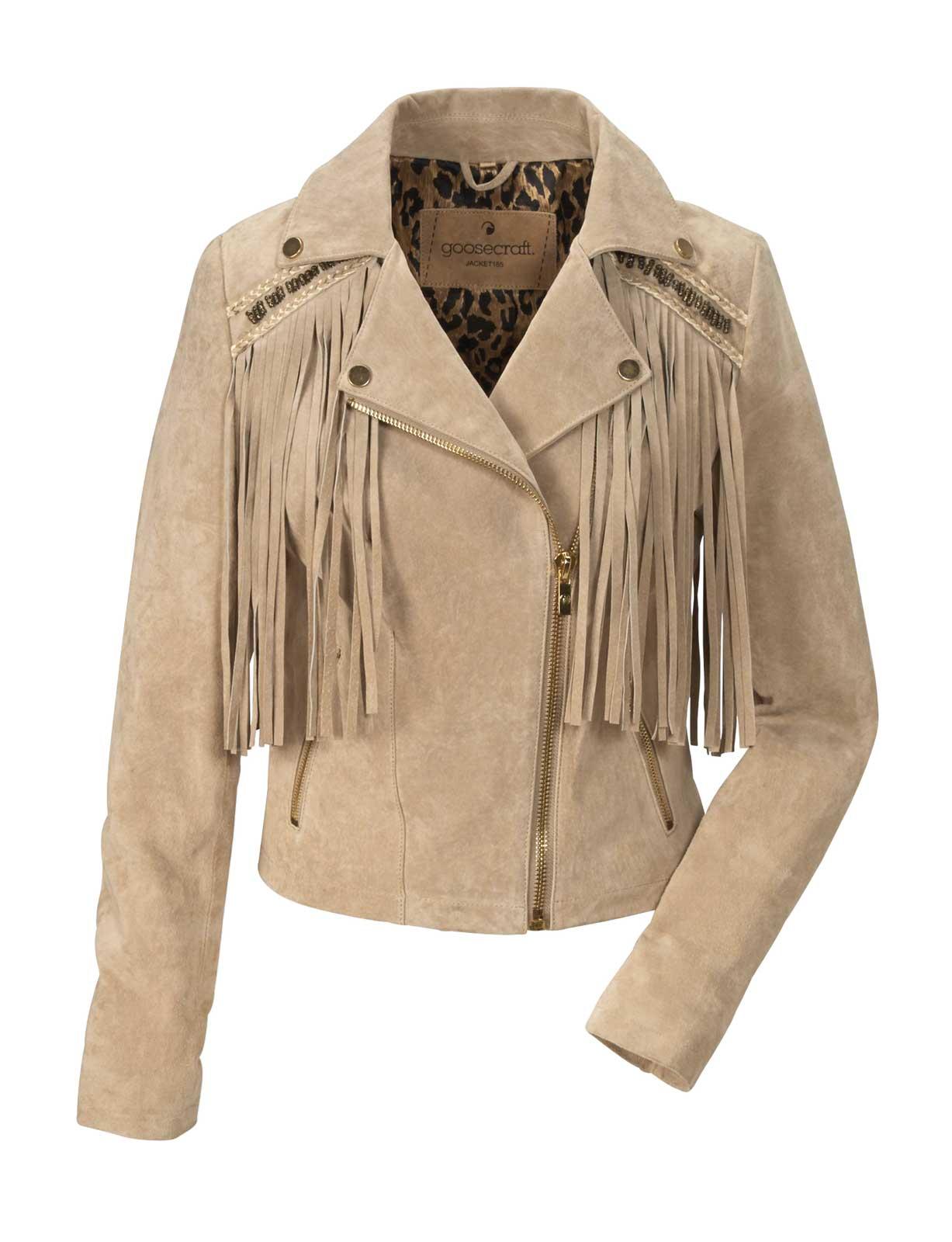 best website 59de4 64741 Details zu Goosecraft Damen Marken-Lederjacke mit Fransen, natur