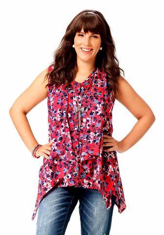 Amy Jones Damen Asymmetrische Marken-Bluse, rot-bunt