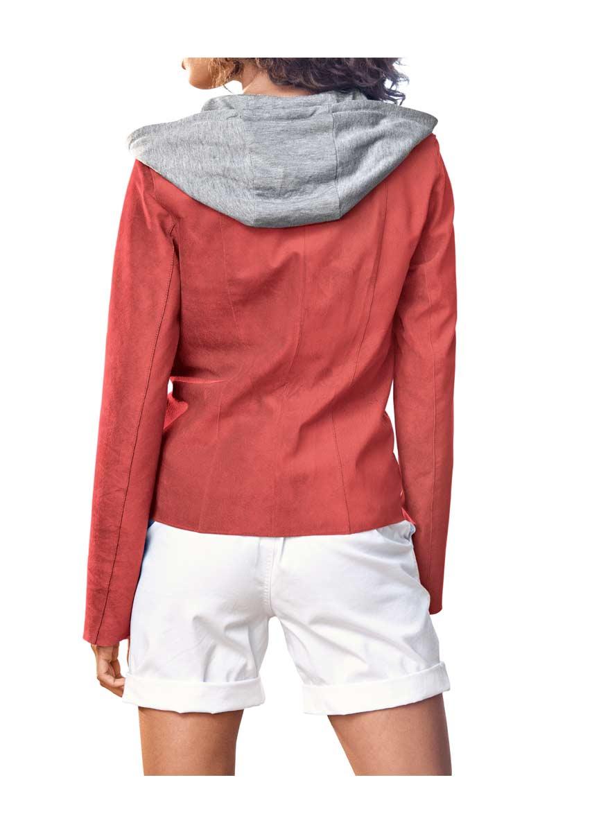 Heine Best Connections Damen Lederjacke mit Jerseykapuze hummer