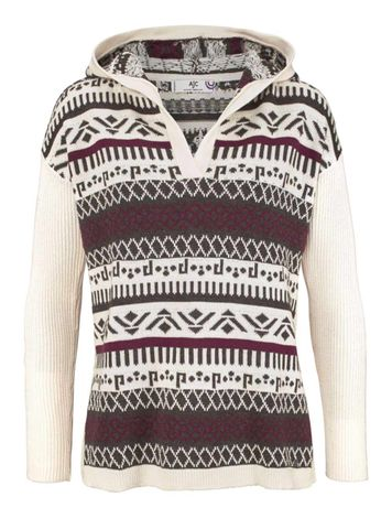 AJC Damen Norwegerpullover, ecru-bordeaux