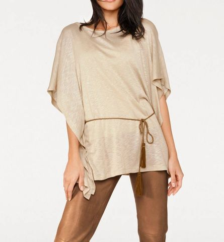 Heine - Best Connections Damen Poncho mit Gürtel, sand