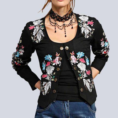 Alba Moda Damen Jacke mit Blumenstickerei, schwarz-bunt