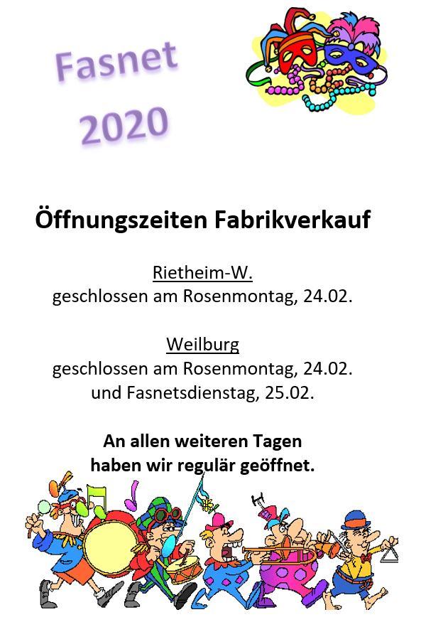Oeffnungszeiten Fasnet 2020