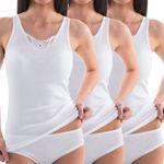 HERMKO 1440 3-pack ladies' lace vest top in 100% bio-cotton