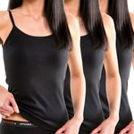 Damen Träger Top Hemd mit Spaghettiträger schwarz 3er Pack