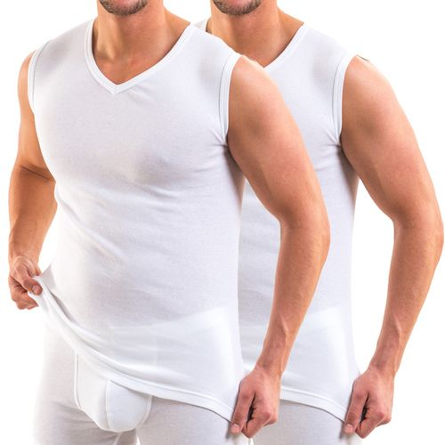 HERMKO 16050 pack of 2 men's business muscle shirt V-neck, made comfortably soft thanks to modal