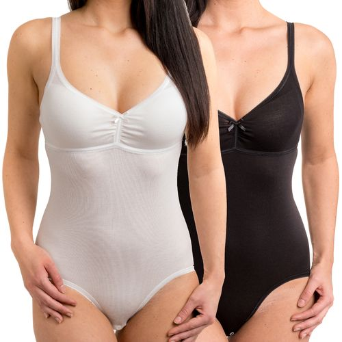 HERMKO 170004040 Women's bodysuit with slim suspenders, made from soft cotton / modal