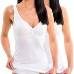 HERMKO 17580 pack of 2  women's bra-top / vest with integrated bustier
