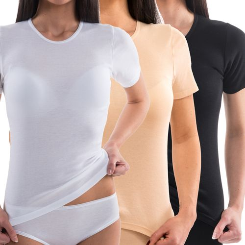 HERMKO 17800 Women's 1/2-arm shirt made from cotton / modal, made ultra-soft thanks to modal