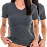 Damen kurzarm Shirt T-Shirt graphit 2er Pack