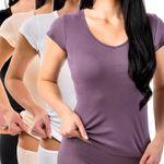 HERMKO 17880 Damen Shirt V-Neck + kurzen Ärmeln