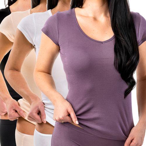 HERMKO 17880 Women's V-neck shirt + short sleeves