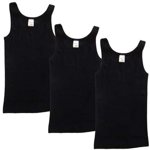 HERMKO 2000 pack of 3 girls' vest made of 100% bio-cotton, tested for harmful substances, tank top