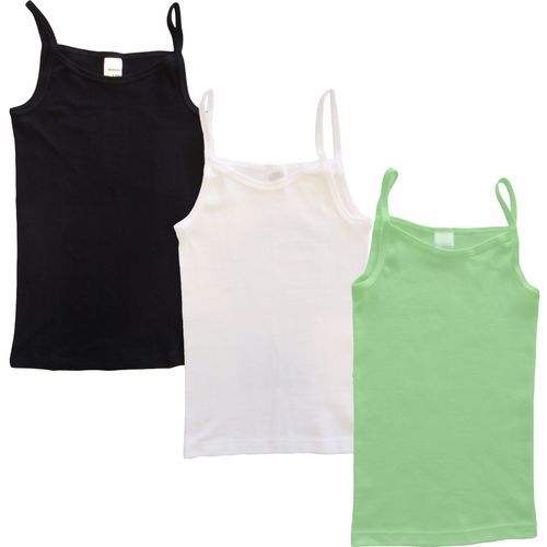 HERMKO 2460 pack of 3 girls' camisole vest, spaghetti top of 100% cotton made in EU