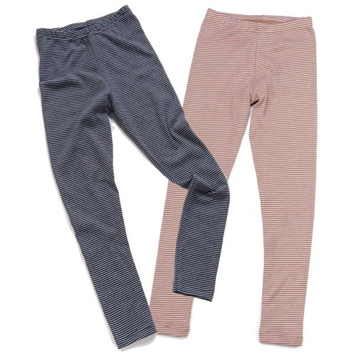 HERMKO 2672005 Children's thermal leggings in a striped ringlet look, made from 67% cotton + 33% polyester