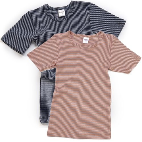 HERMKO 2681005 Children's thermal short sleeve shirt in a striped ringlet look, made from 67% cotton + 33% polyester