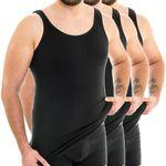 Extralanges Herren Unterhemd Rundhals schwarz 3er Pack