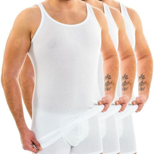 HERMKO 3007 3-pack extra-long (approx. 10 cm+) men's tank top vest in 100% bio-cotton